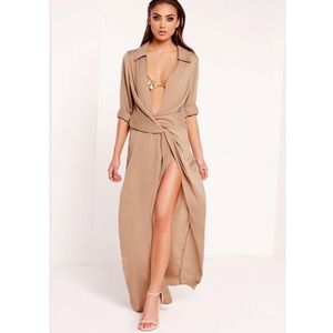 Missguided Maxi Satin Plunge Dress
